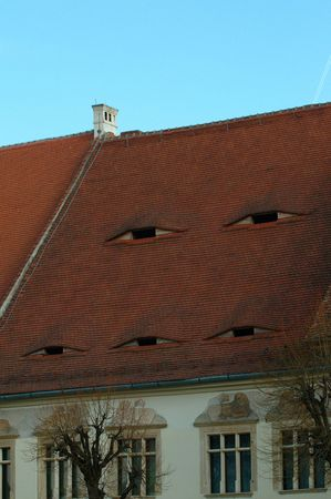 skylight: transylvanian roof with the typical EYES - sightseeing historical monuments- Stock Photo