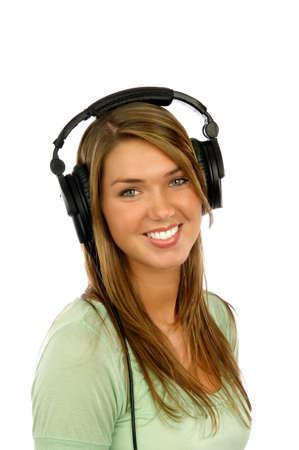 Smiling girl wearing headphones Stock Photo - 6185470
