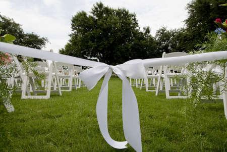 image of isle runner ribbon at an outdoor wedding