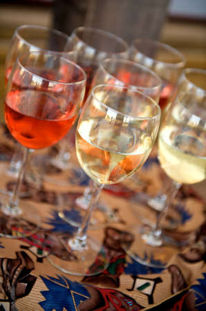 epicurean: Image of red and white wine at a western themed party