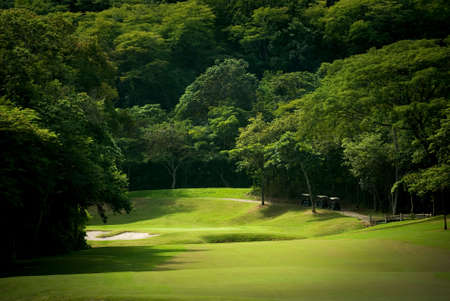 Image of a heavily forrested golf fairway at a tropical resort photo