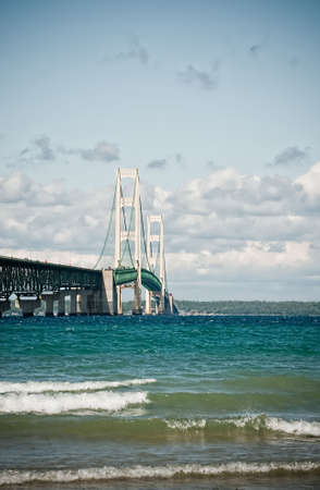 Vertical shot of a suspension bridge (Mackinac). The bridge connects upper Michigan to lower Michigan. Stock Photo - 6054895
