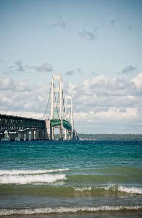 Vertical shot of a suspension bridge (Mackinac). The bridge connects upper Michigan to lower Michigan.