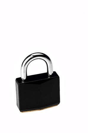 Image of a black padlock on white background photo