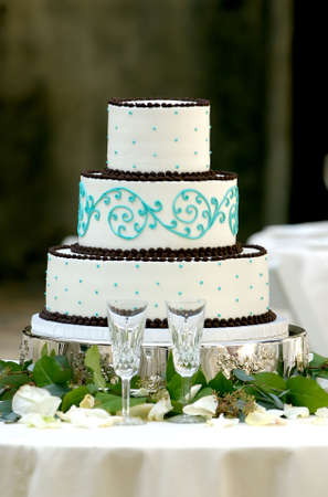 Image of a unique three tiered wedding cake photo