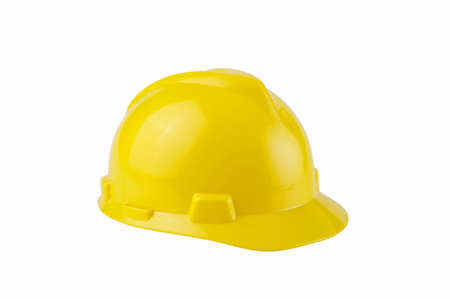 Image of a yellow construction hard hat on white background Stock Photo - 6591786