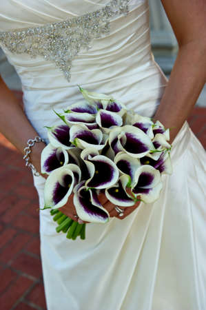 purple dress: Image closeup of a beautiful bouquet being held by a brides hands