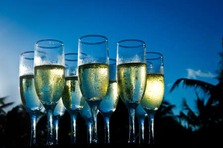 Image of filled champagne glasses against blue sky and palm trees at sunset 스톡 콘텐츠
