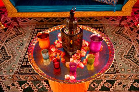 comida arabe: Detalle de la imagen de un ajuste de la tabla en una boda india Foto de archivo