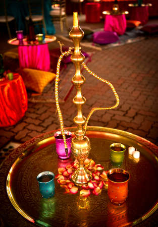 Image of a Hookah at a beautifully decorated Indian wedding photo