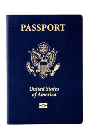 pasaporte: Imagen muy limpio de un pasaporte de EE.UU. sobre fondo blanco