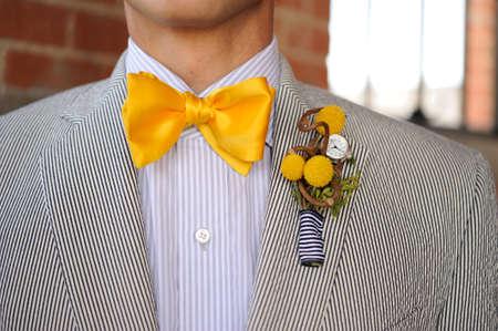 Image of a Seersucker Suit with yellow bowtie