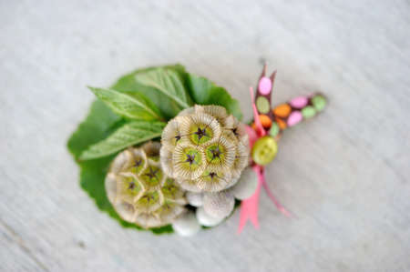 buttonhole: Image of a creatively designed  boutonniere