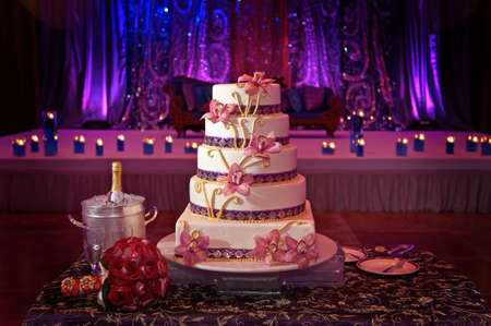 Image of a beautiful wedding cake at wedding reception photo