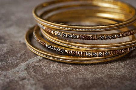 Detail shot of ornate Indian bangles for wedding