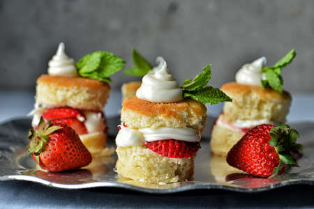 Image of strawberry shortcakes on a serving tray photo