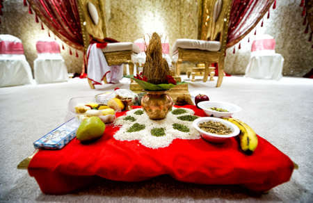 Ceremonia de Instalaci�n para la boda india Foto de archivo - 13493901