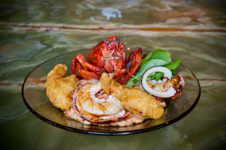fine fish: Image of a Lobster Dinner prepared 3 ways Stock Photo