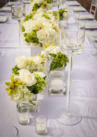 a beautifully decorated wedding table photo
