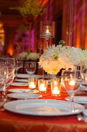 Table setting at a luxury wedding reception Archivio Fotografico