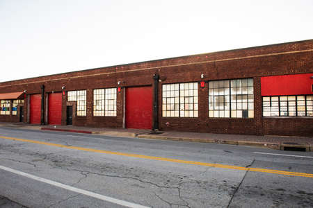 building exteriors: Image of old vintage warehouses in run down part of town