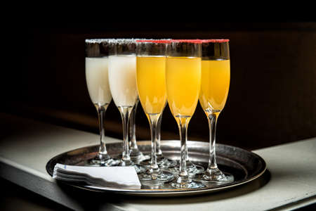 alcoholic beverages: Image of alcoholic beverages on a tray