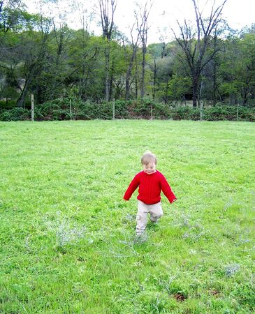 Young boy in field photo