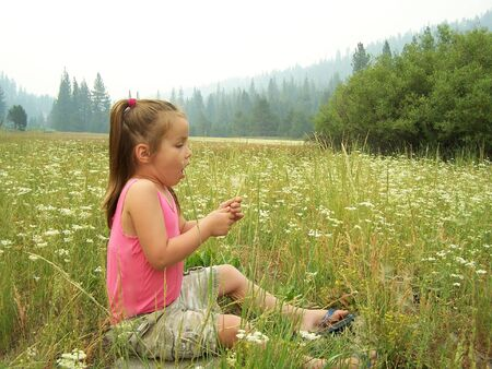 Young girl blowing on dandelion
