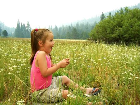Young girl blowing on dandelion photo