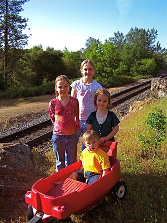 Kids near railroad tracks