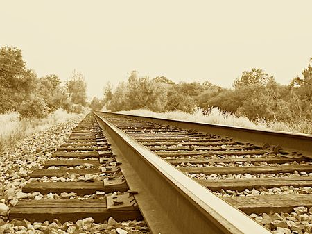 Railroad tracks sepia tone Stock Photo