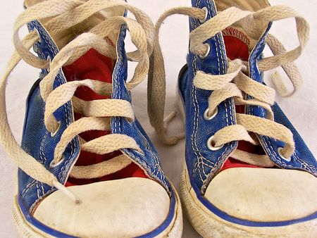 dirty feet: childs tennis shoes