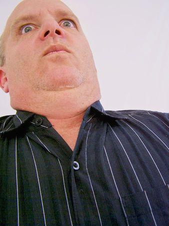 large man looking