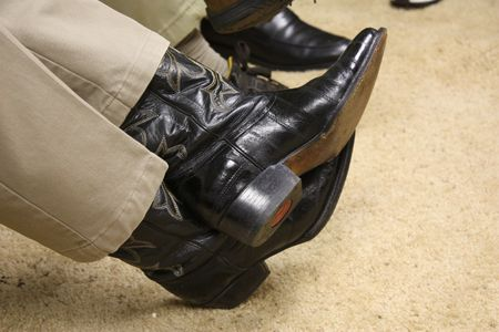 riding boot: Black cowboy boots