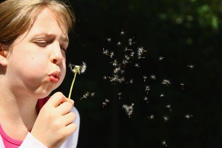 Girl blowing dandelion photo