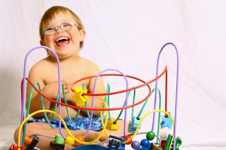 Little boy with toy Stock Photo