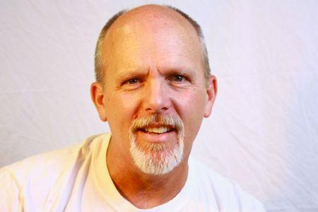 Bald man with goatee Stock Photo