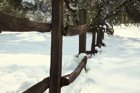 Old wood fence in the snow photo