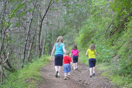 Kids walking on trail photo