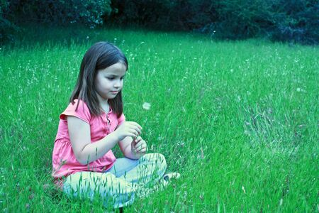 One girl about to blow on dandelion Stock Photo - 7092251