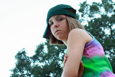 tomboy: Young girl with baseball cap