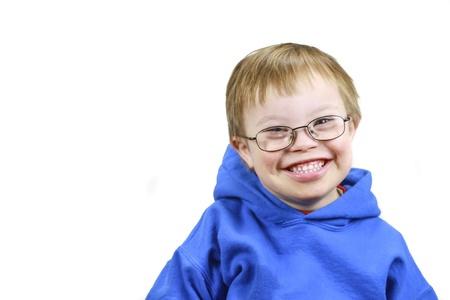 downs syndrome: Little boy with Downs Syndrome