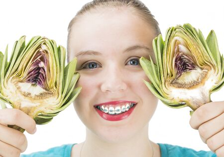 from halves: Girl with Artichoke halves
