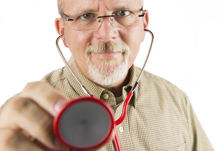 Doctor Wearing Glasses and  Holding Red Stethoscope up photo