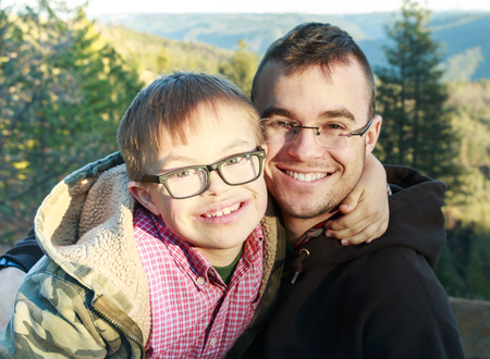 downs syndrome: Big Brother and Little Brother with Downs Syndrome