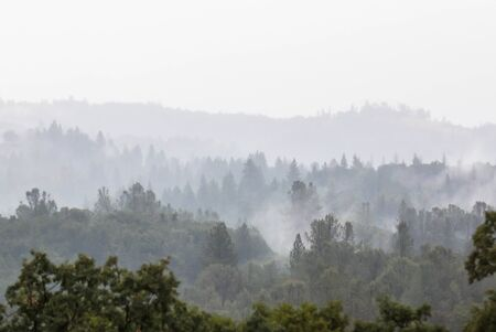 Scenic View of the Foggy Mountians in Cool California