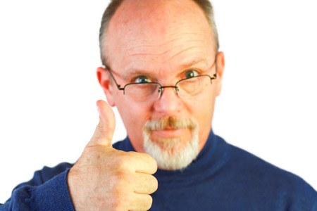 Bald Man With Glasses And Thumb Up photo