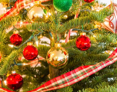 beautiful christmas ornaments hanging on a pine tree stock photo 73935244 - Beautiful Christmas Ornaments