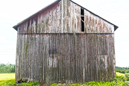 Back Side of Gray Rustic Weathered Tall Barn