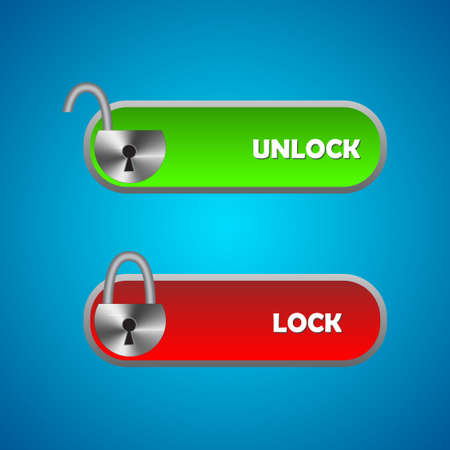 Set of lock sliders. Template for any interface, site or application for locking and unlocking. Vector illustration.